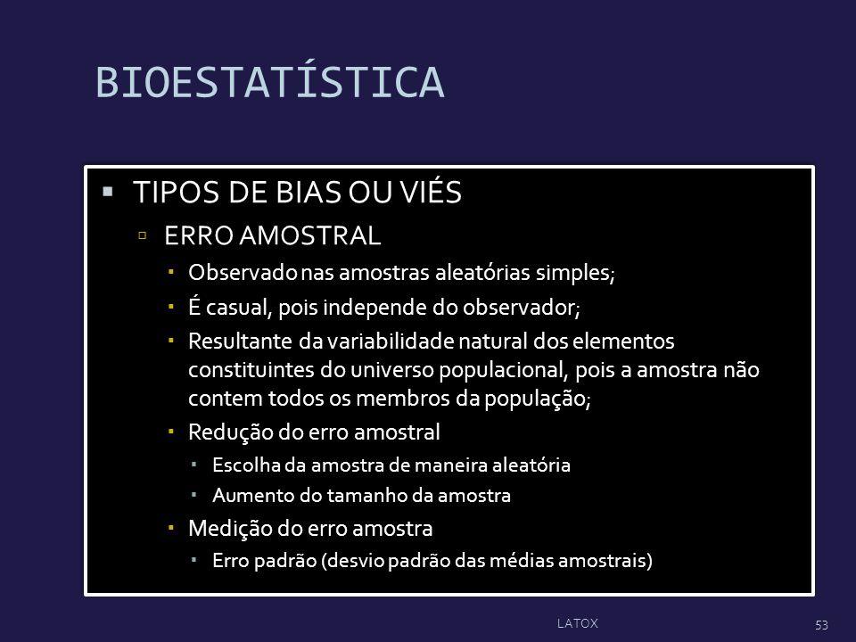 BIOESTATÍSTICA TIPOS DE BIAS OU VIÉS ERRO AMOSTRAL