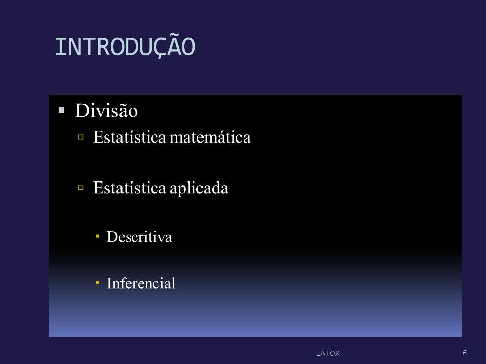 INTRODUÇÃO Divisão Estatística matemática Estatística aplicada
