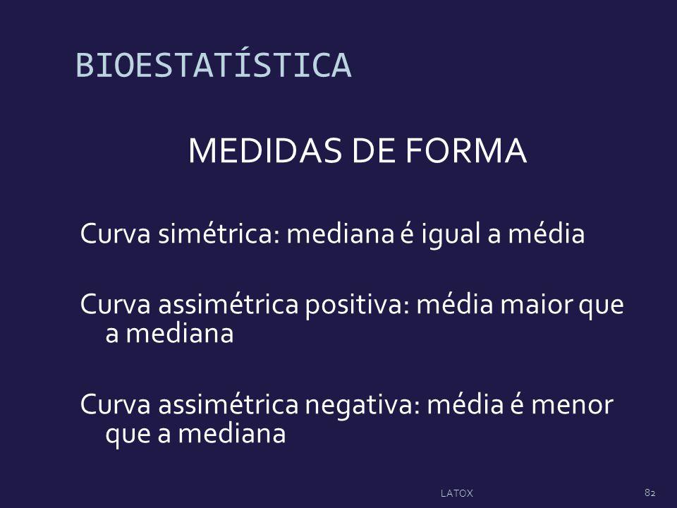 BIOESTATÍSTICA MEDIDAS DE FORMA