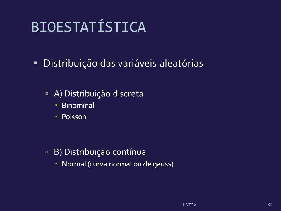 BIOESTATÍSTICA Distribuição das variáveis aleatórias