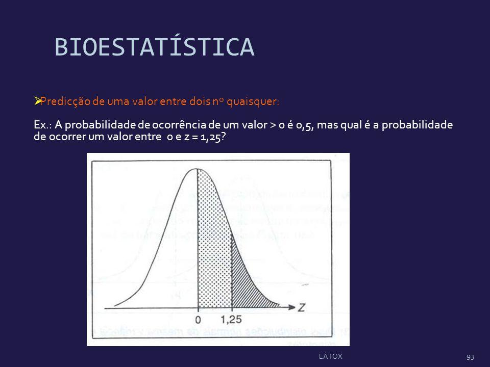BIOESTATÍSTICA Predicção de uma valor entre dois nº quaisquer: