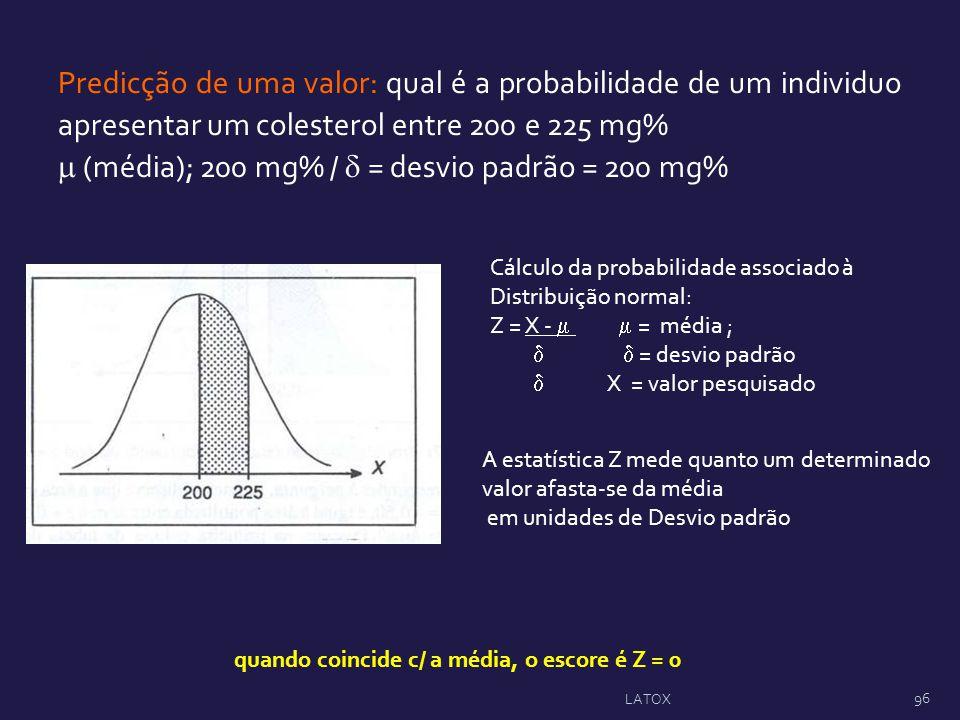  (média); 200 mg% /  = desvio padrão = 200 mg%