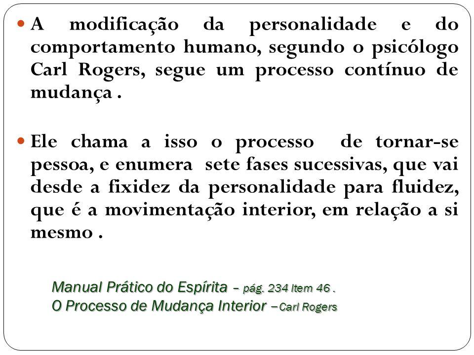 A modificação da personalidade e do comportamento humano, segundo o psicólogo Carl Rogers, segue um processo contínuo de mudança .