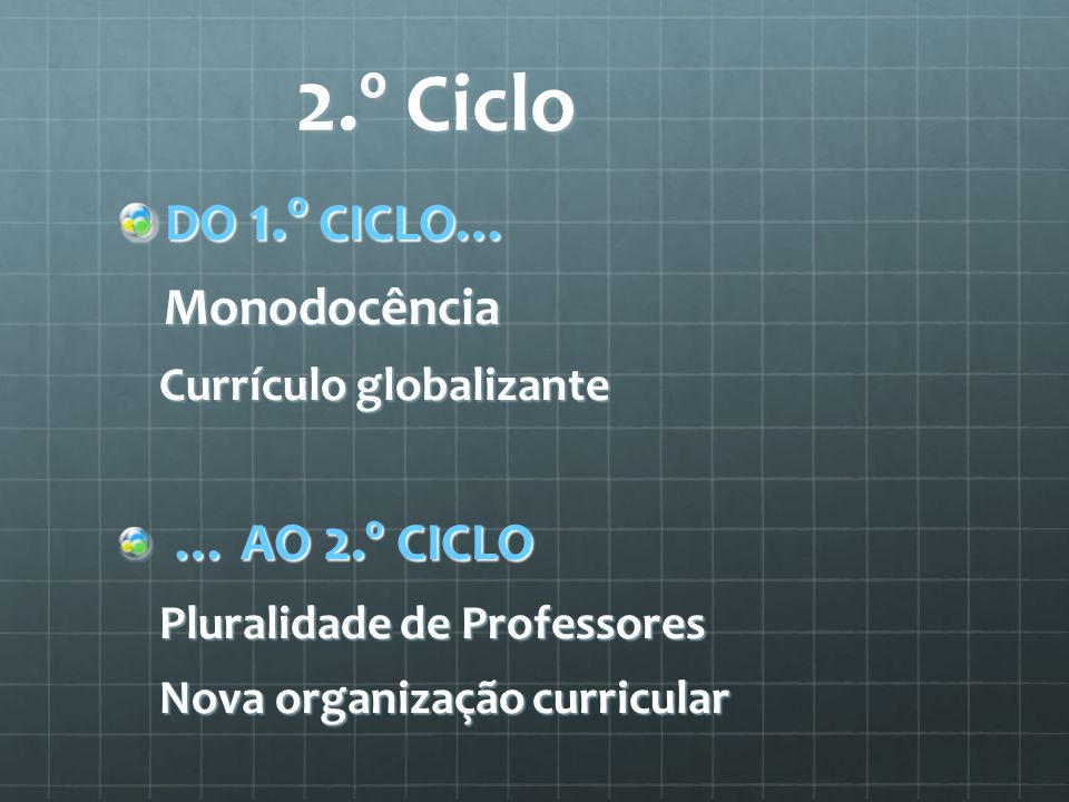 2.º Ciclo DO 1.º CICLO… Monodocência Currículo globalizante