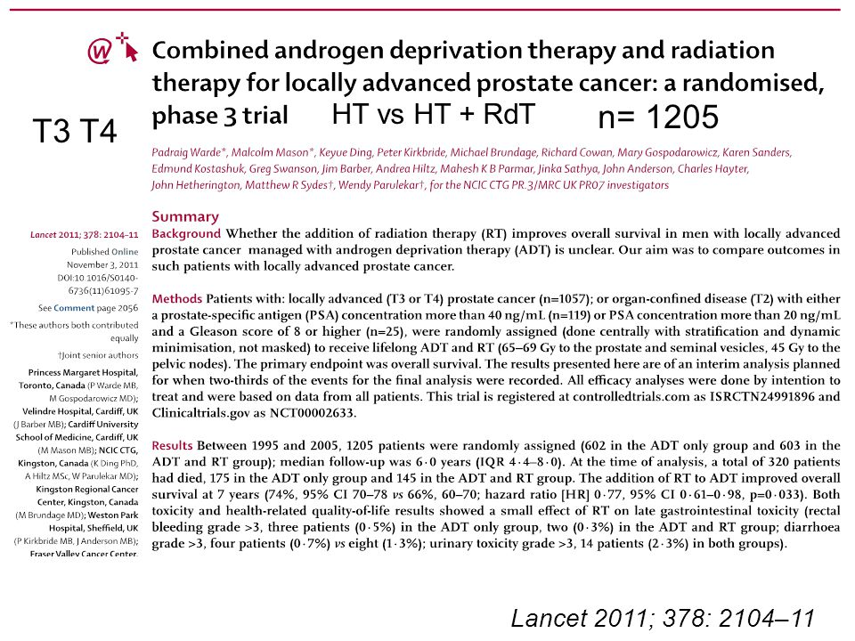 HT vs HT + RdT n= 1205 T3 T4 Lancet 2011; 378: 2104–11
