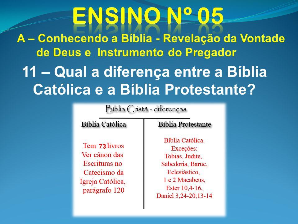 11 – Qual a diferença entre a Bíblia Católica e a Bíblia Protestante