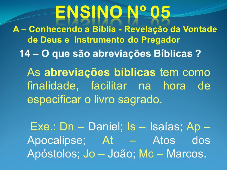 14 – O que são abreviações Bíblicas