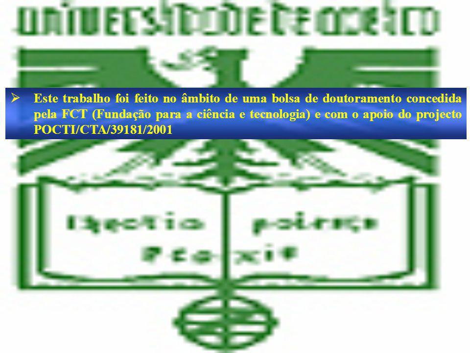 Este trabalho foi feito no âmbito de uma bolsa de doutoramento concedida pela FCT (Fundação para a ciência e tecnologia) e com o apoio do projecto POCTI/CTA/39181/2001