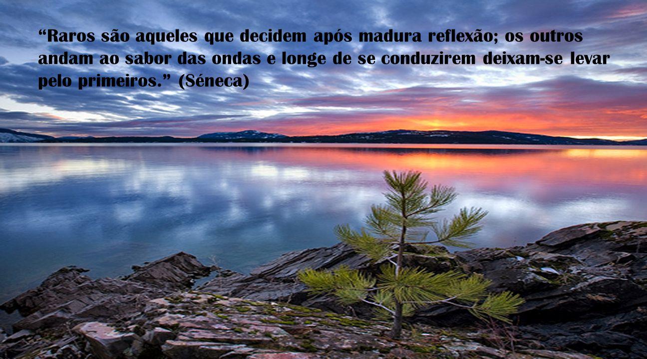 Raros são aqueles que decidem após madura reflexão; os outros andam ao sabor das ondas e longe de se conduzirem deixam-se levar pelo primeiros. (Séneca)