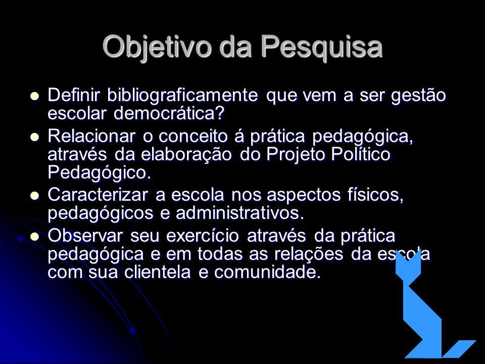 Objetivo da Pesquisa Definir bibliograficamente que vem a ser gestão escolar democrática