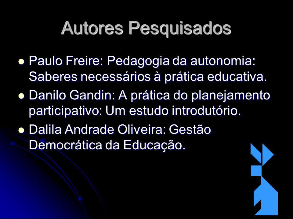 Autores Pesquisados Paulo Freire: Pedagogia da autonomia: Saberes necessários à prática educativa.