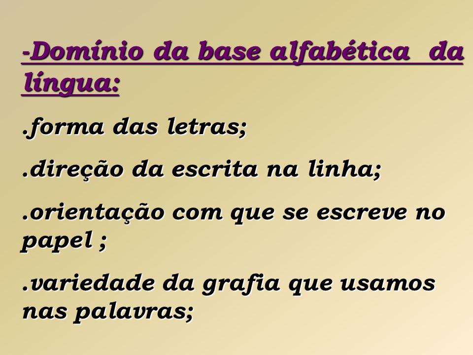 -Domínio da base alfabética da língua: