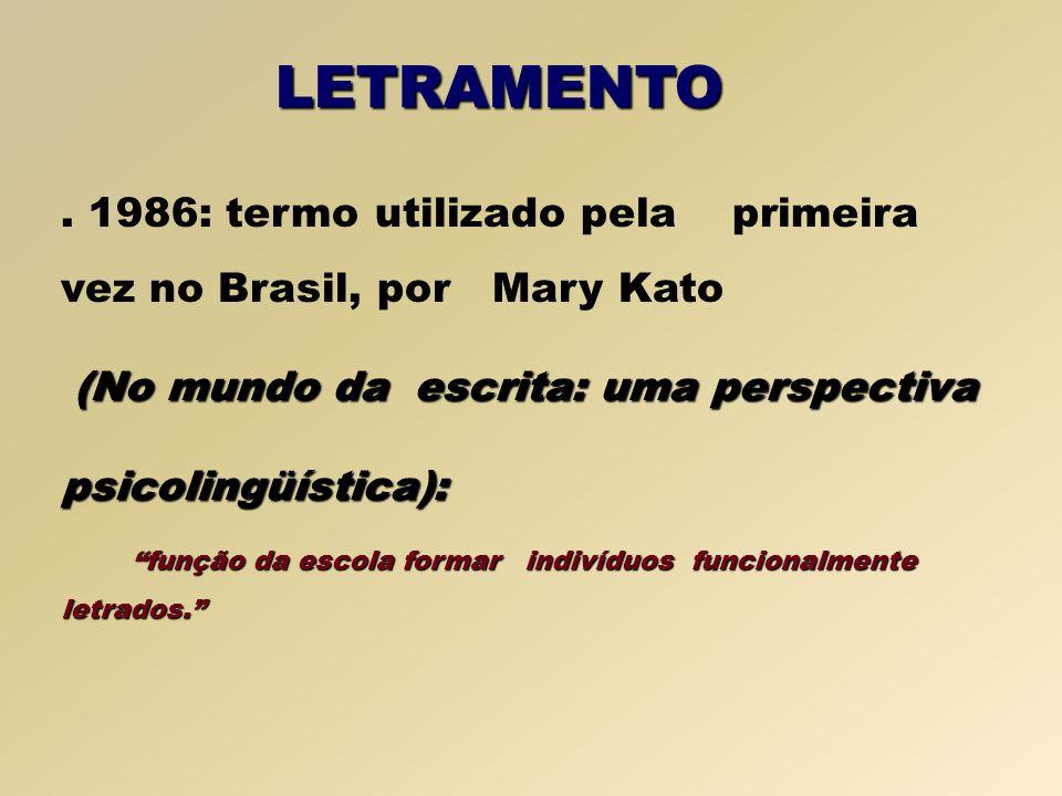 LETRAMENTO . 1986: termo utilizado pela primeira vez no Brasil, por Mary Kato. (No mundo da escrita: uma perspectiva.