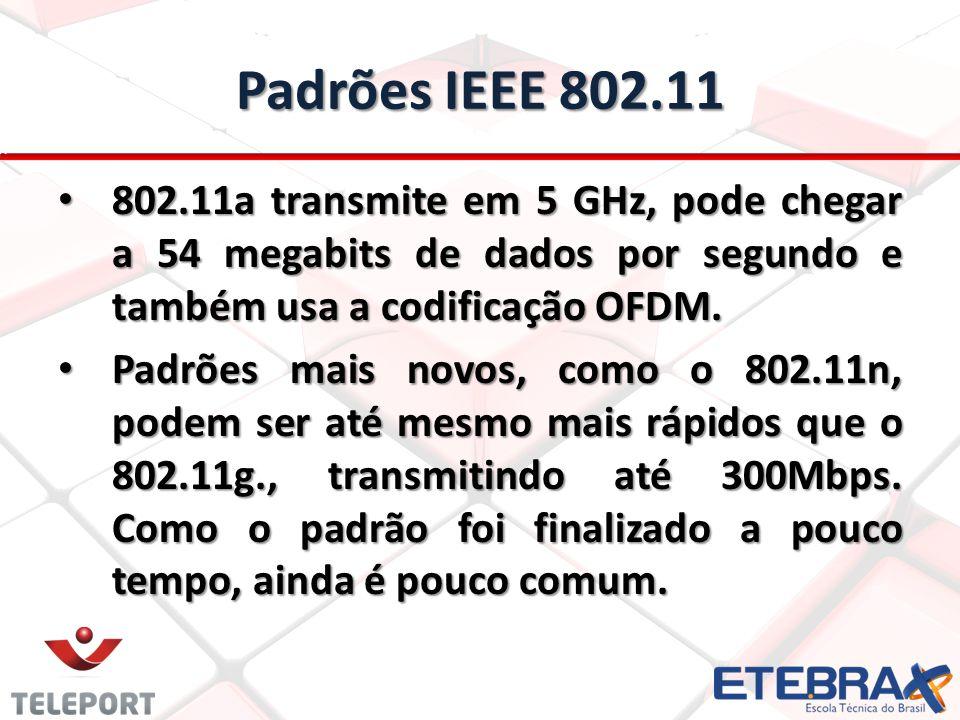 Padrões IEEE 802.11 802.11a transmite em 5 GHz, pode chegar a 54 megabits de dados por segundo e também usa a codificação OFDM.
