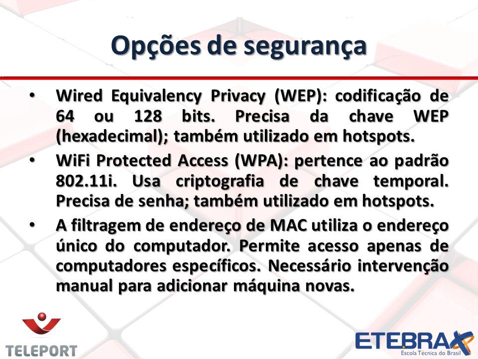 Opções de segurança Wired Equivalency Privacy (WEP): codificação de 64 ou 128 bits. Precisa da chave WEP (hexadecimal); também utilizado em hotspots.