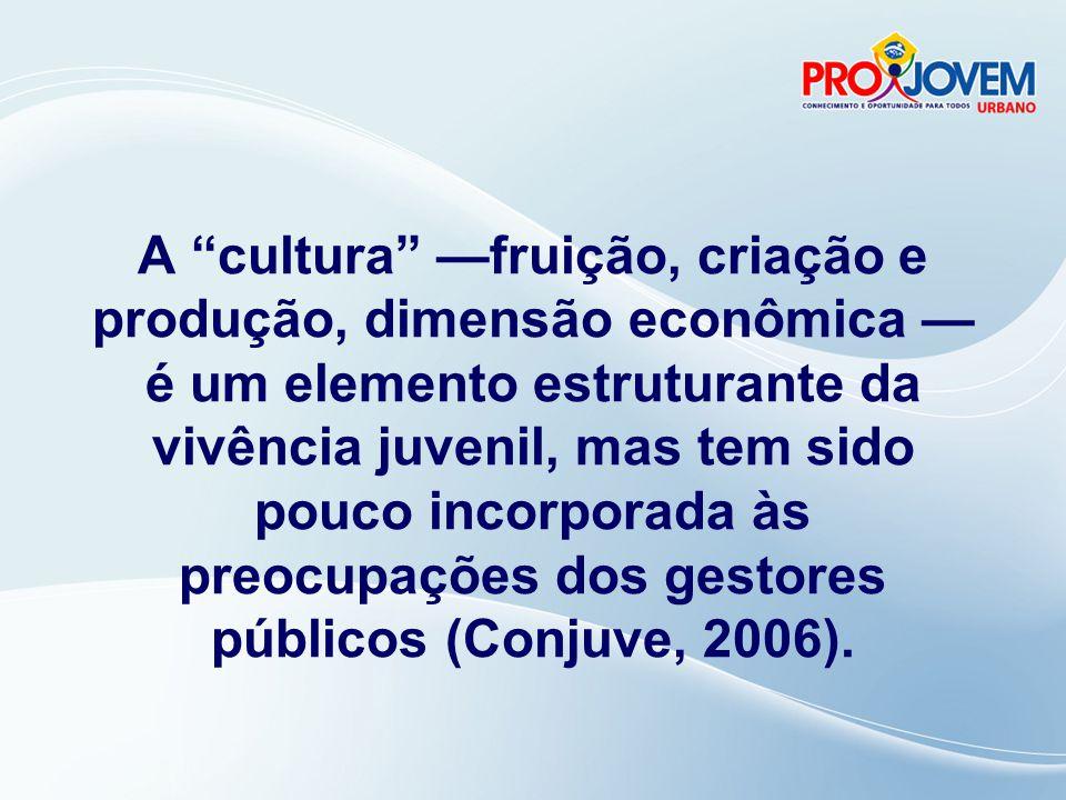 A cultura —fruição, criação e produção, dimensão econômica — é um elemento estruturante da vivência juvenil, mas tem sido pouco incorporada às preocupações dos gestores públicos (Conjuve, 2006).