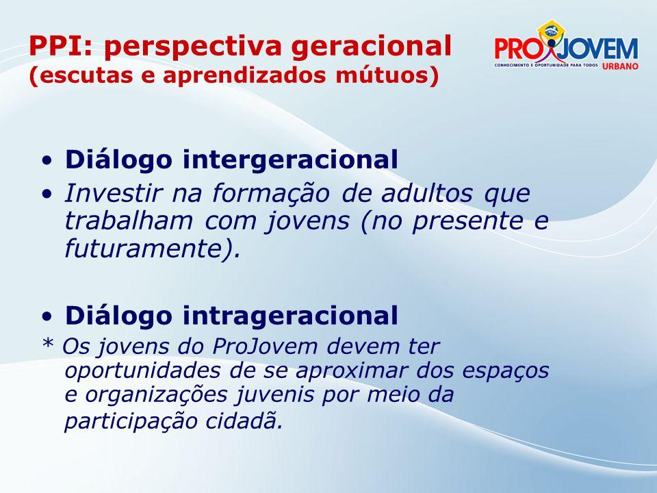 PPI: perspectiva geracional (escutas e aprendizados mútuos)