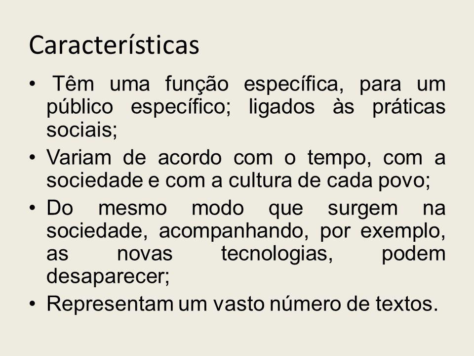 Características Têm uma função específica, para um público específico; ligados às práticas sociais;