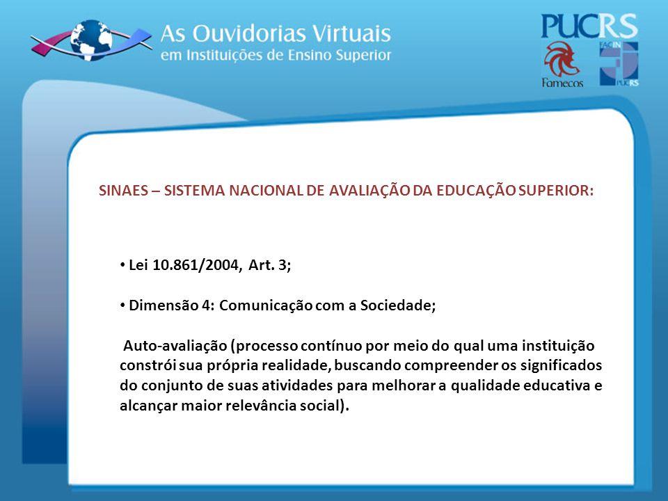 SINAES – SISTEMA NACIONAL DE AVALIAÇÃO DA EDUCAÇÃO SUPERIOR: