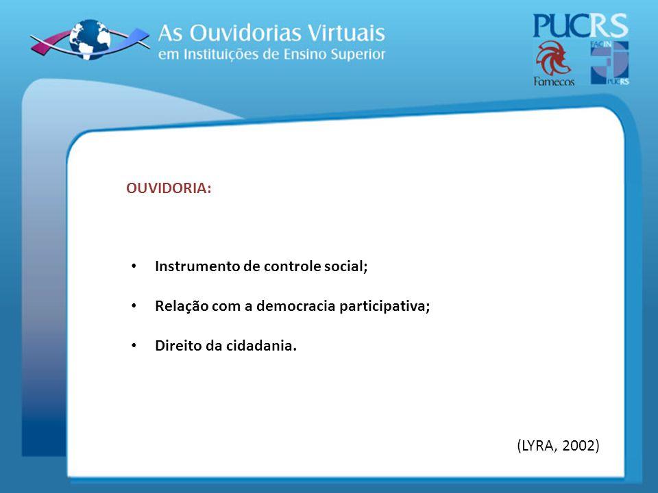 OUVIDORIA: Instrumento de controle social; Relação com a democracia participativa; Direito da cidadania.