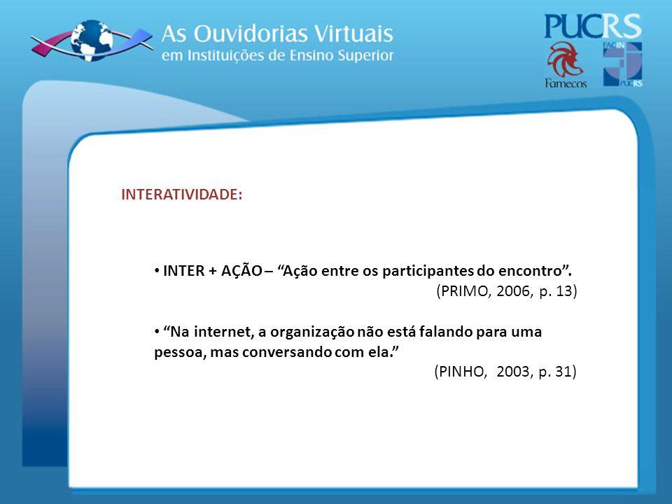INTERATIVIDADE: INTER + AÇÃO – Ação entre os participantes do encontro . (PRIMO, 2006, p. 13)