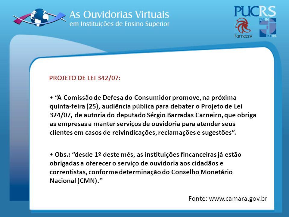 PROJETO DE LEI 342/07: