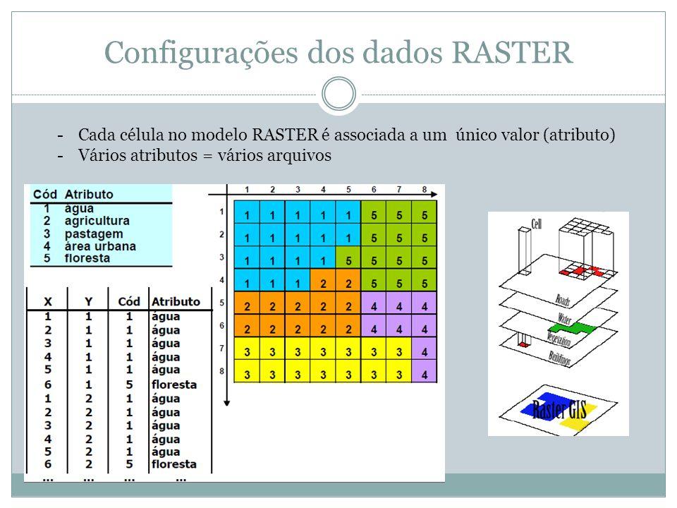Configurações dos dados RASTER