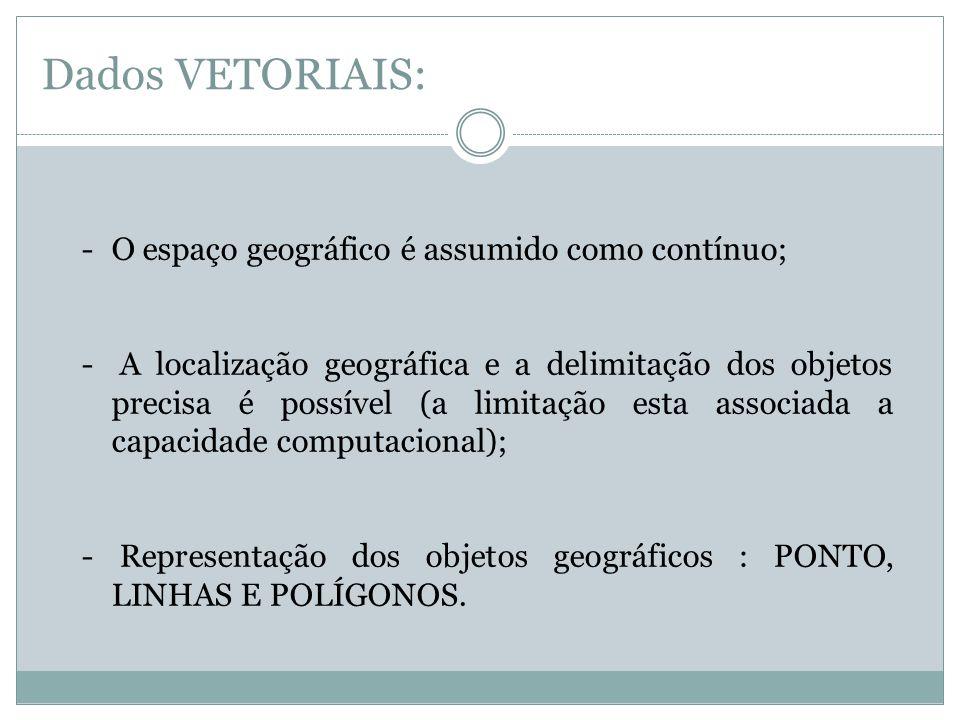 Dados VETORIAIS: O espaço geográfico é assumido como contínuo;