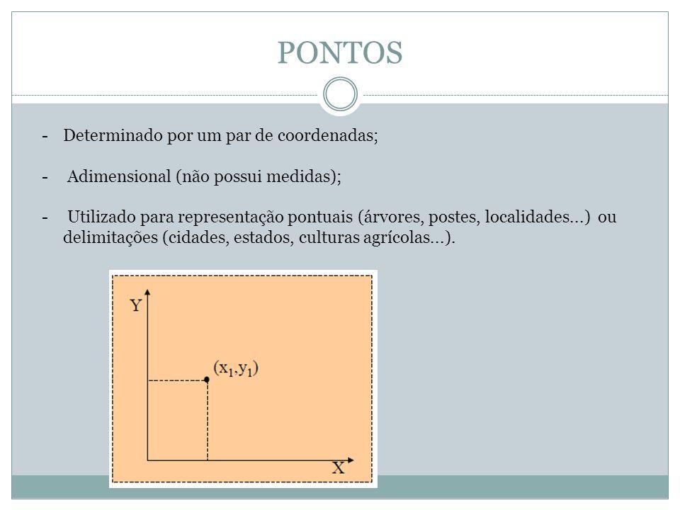 PONTOS Determinado por um par de coordenadas;