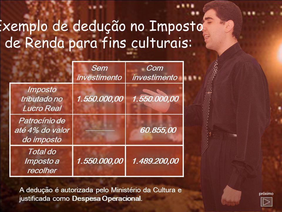 Exemplo de dedução no Imposto de Renda para fins culturais: