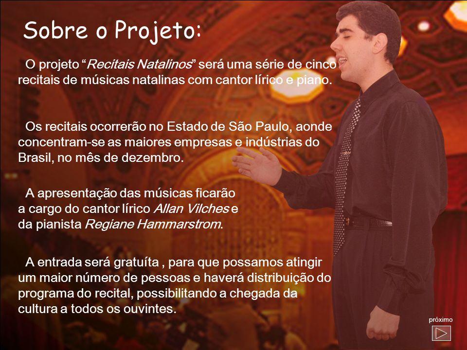 Sobre o Projeto: O projeto Recitais Natalinos será uma série de cinco. recitais de músicas natalinas com cantor lírico e piano.