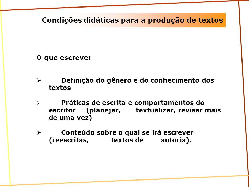 Condições didáticas para a produção de textos