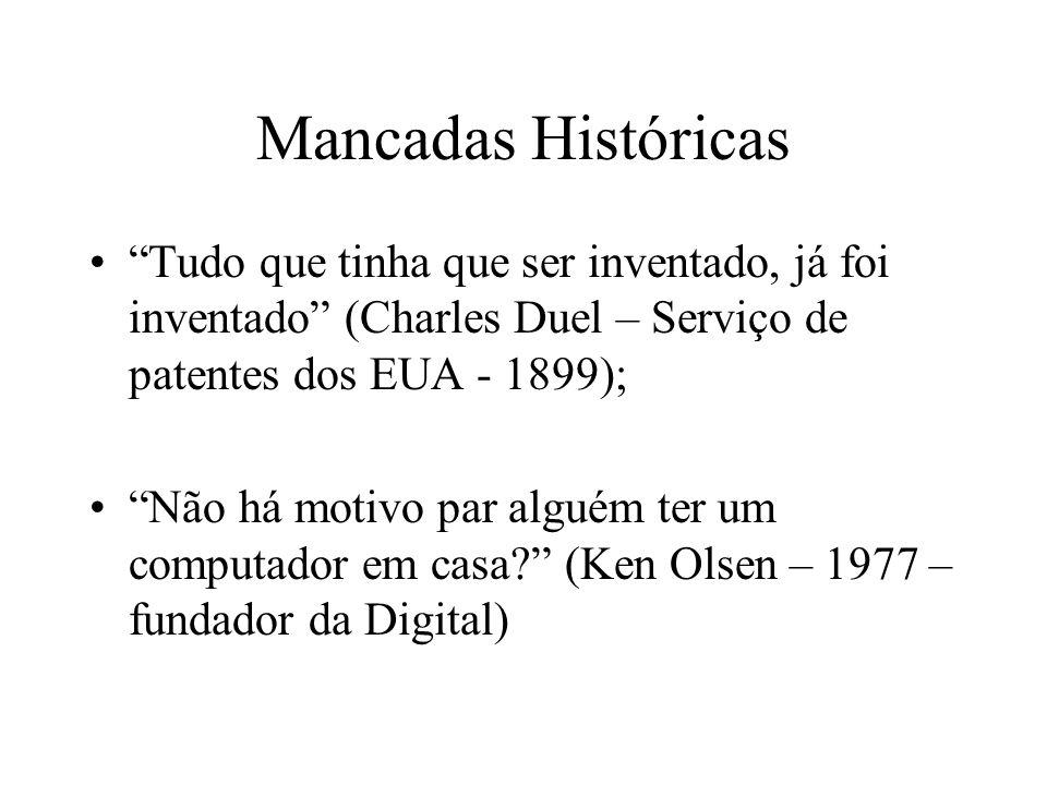 Mancadas Históricas Tudo que tinha que ser inventado, já foi inventado (Charles Duel – Serviço de patentes dos EUA - 1899);