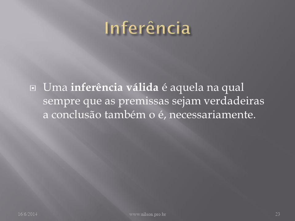 Inferência Uma inferência válida é aquela na qual sempre que as premissas sejam verdadeiras a conclusão também o é, necessariamente.