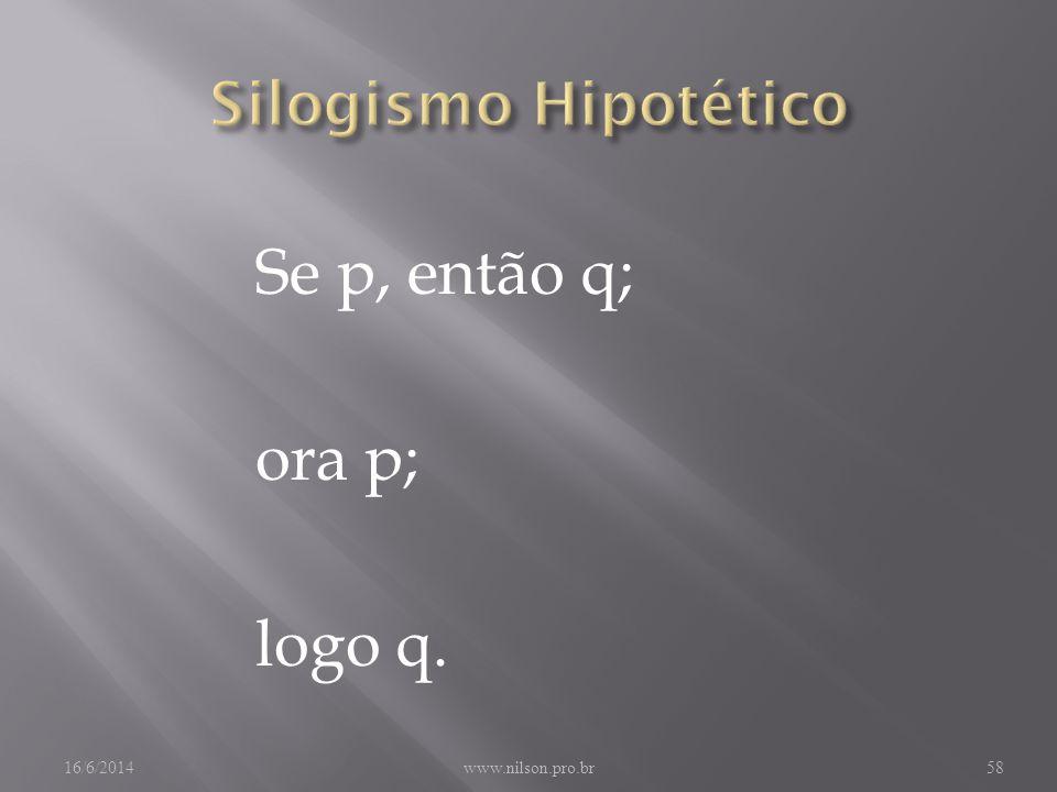 Se p, então q; ora p; logo q. Silogismo Hipotético 02/04/2017