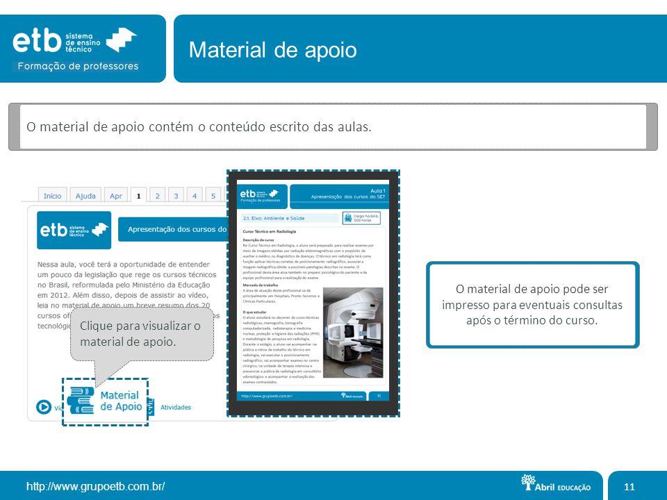 Material de apoio O material de apoio contém o conteúdo escrito das aulas.