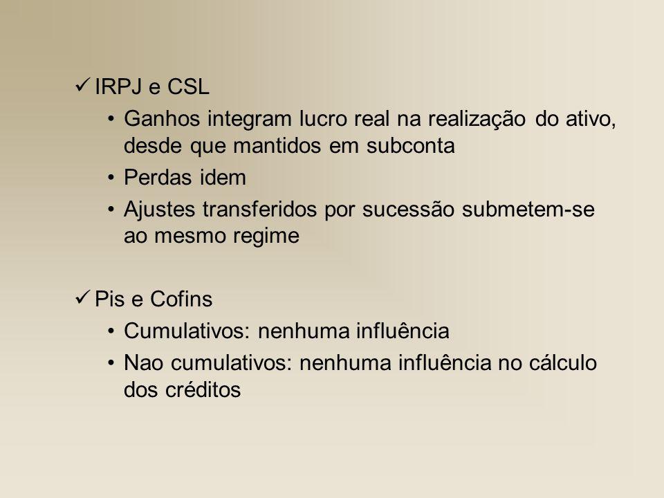 IRPJ e CSL Ganhos integram lucro real na realização do ativo, desde que mantidos em subconta. Perdas idem.