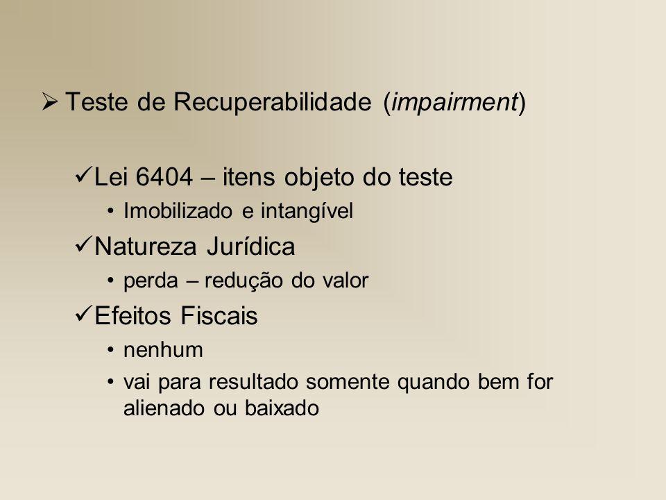 Teste de Recuperabilidade (impairment)