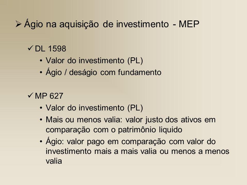 Ágio na aquisição de investimento - MEP