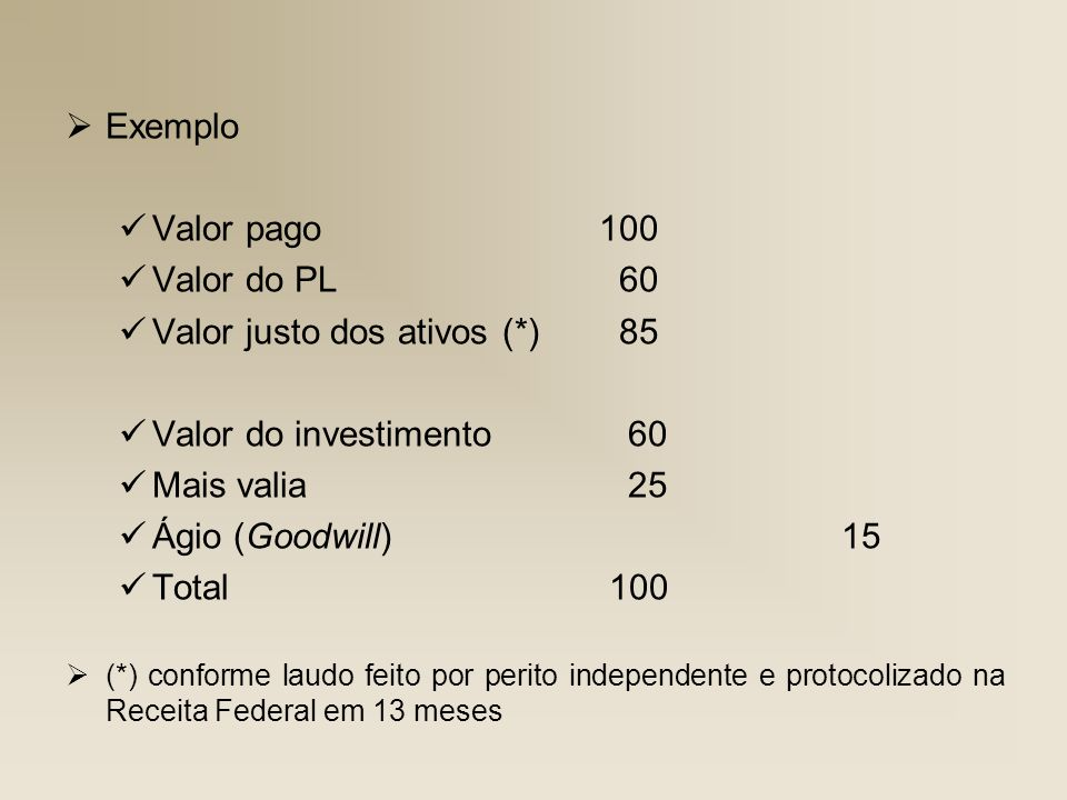 Valor justo dos ativos (*) 85 Valor do investimento 60 Mais valia 25