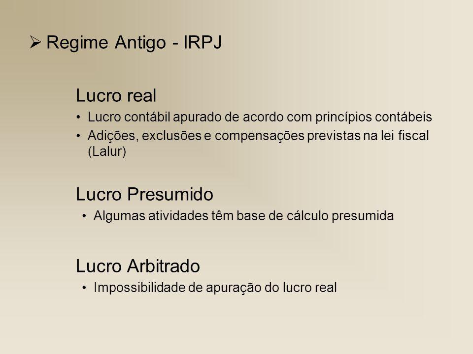 Regime Antigo - IRPJ Lucro real Lucro Arbitrado