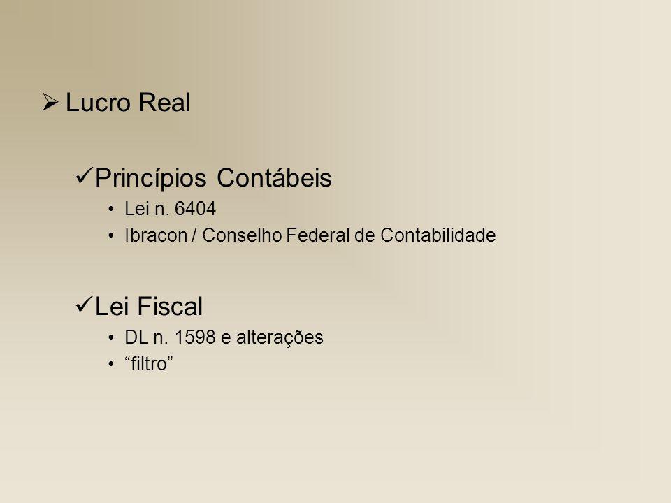 Lucro Real Princípios Contábeis Lei Fiscal Lei n. 6404
