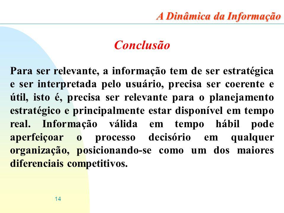 Conclusão A Dinâmica da Informação