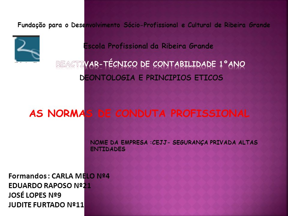 AS NORMAS DE CONDUTA PROFISSIONAL