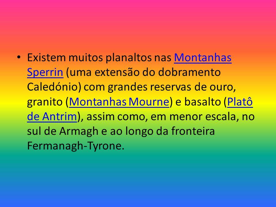 Existem muitos planaltos nas Montanhas Sperrin (uma extensão do dobramento Caledónio) com grandes reservas de ouro, granito (Montanhas Mourne) e basalto (Platô de Antrim), assim como, em menor escala, no sul de Armagh e ao longo da fronteira Fermanagh-Tyrone.