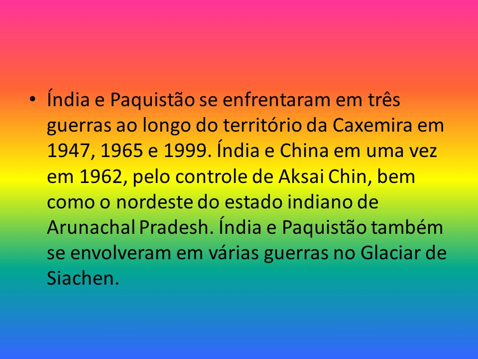Índia e Paquistão se enfrentaram em três guerras ao longo do território da Caxemira em 1947, 1965 e 1999.
