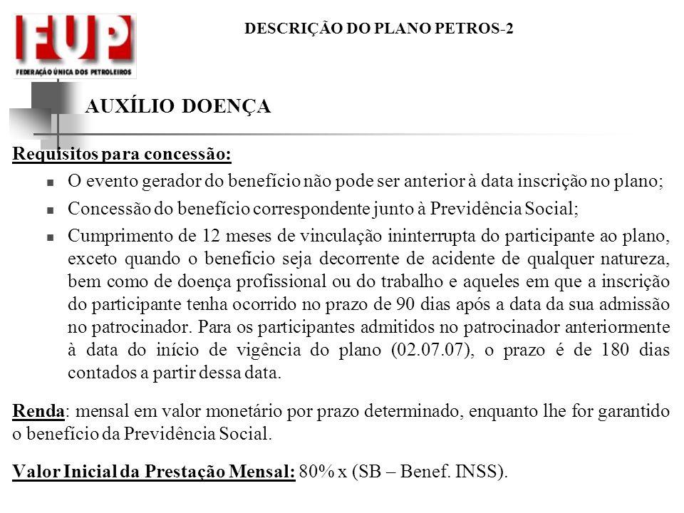 AUXÍLIO DOENÇA Requisitos para concessão: