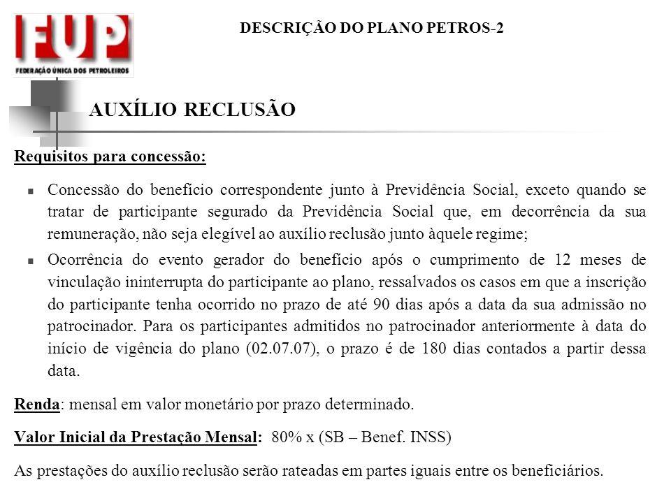 AUXÍLIO RECLUSÃO Requisitos para concessão: