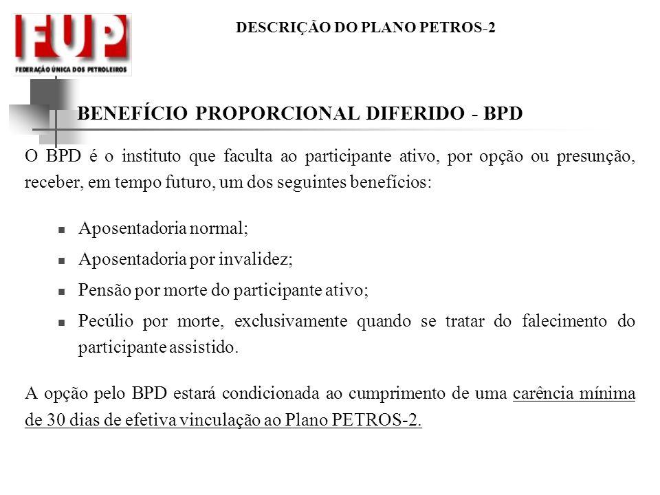 BENEFÍCIO PROPORCIONAL DIFERIDO - BPD