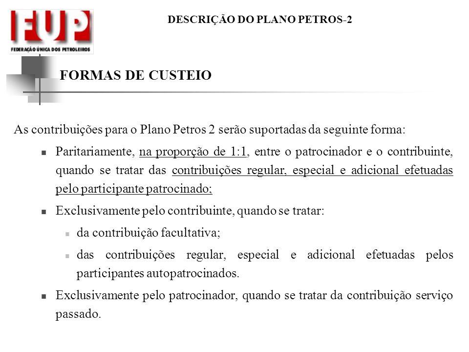 FORMAS DE CUSTEIO As contribuições para o Plano Petros 2 serão suportadas da seguinte forma: